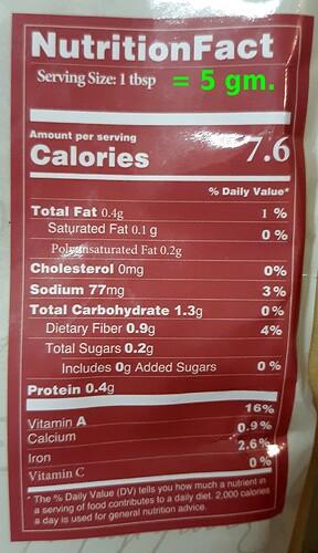 sumac nutrient label